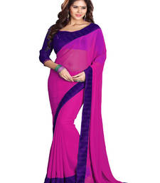 Buy Pink embroidered georgette saree with blouse karwa-chauth-saree online