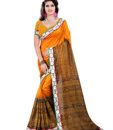 Buy Orange embroidered bhagalpuri silk saree with blouse heavy-work-saree online