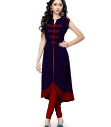 Buy Blue plain cotton semi stitched kurti party-wear-kurti online