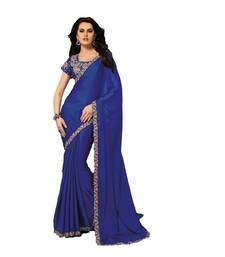 Buy NeelFab Blue Satin Chiffon Designer Saree satin-saree online