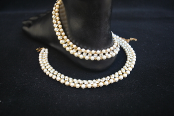 Traditional White Stone and Pearl embellished Single Line anklets