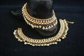 Traditional anklets with Gold Stones and Ghungroo