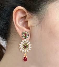 Buy Sukkhi Amazing Gold and Rhodium Plated Kundan Stone Studded Earring(6026EKDV500) jhumka online