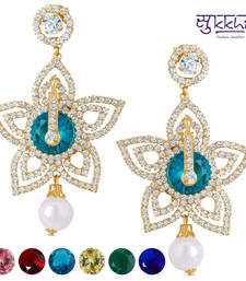 Buy Sukkhi Stylish Gold plated AD Earring With 6 Pairs of Changeable Stone(6002EADV1600) Earring online