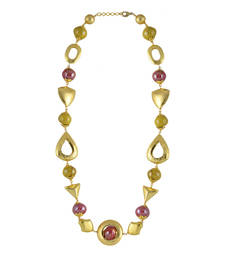 Buy Red and gold color eustecia bead necklace for women gemstone-necklace online