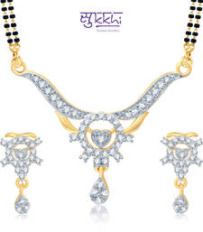 Sukkhi Stunning Gold and Rhodium Plated Cubic Zirconia Stone Studded Mangalsutra Set(14052MSCZK1200) shop online