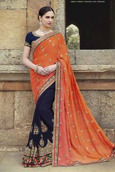 ff1b89c82a2 Multicolor embroidered georgette saree with blouse. Shop Now