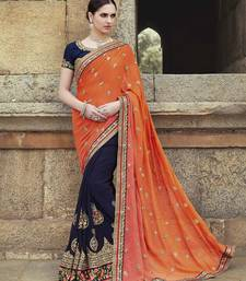 Dark-blue with orange   embroidered georgette saree with blouse