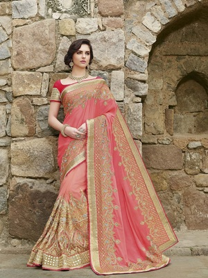 Multicolor  embroidered Georgette Net  saree with blouse