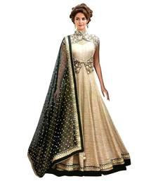Chiku embroidered bangalore silk semi stitched salwar with dupatta