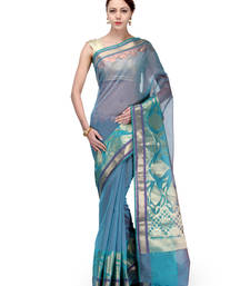 Buy Sky blue woven super net saree with blouse supernet-saree online
