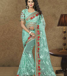 Buy Light blue embroidered net saree with blouse net-saree online
