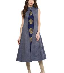 Blue Solid party wear kurti