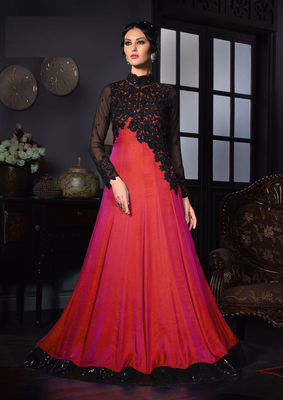 Red sequins art silk semi stitched indian wedding bridal gowns