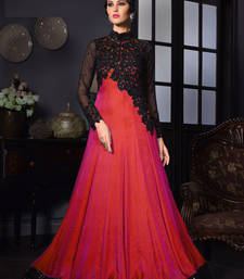 Buy Red sequins art silk semi stitched indian wedding bridal gowns diwali-salwar-kameez online