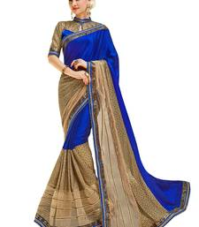 Buy blue and beige embroidered art silk saree with blouse heavy-work-saree online