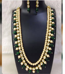 Buy Kundan and Pearl Necklace Set with Green Onyx Gemstones women-ethnic-wear online