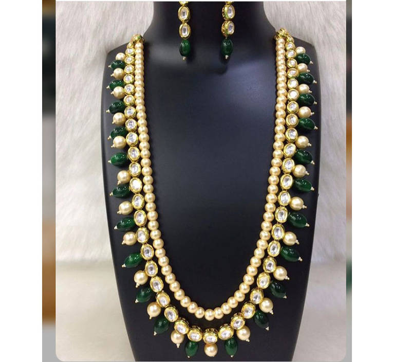 065b5be312c Kundan and Pearl Necklace Set with Green Onyx Gemstones - Glitterati ...