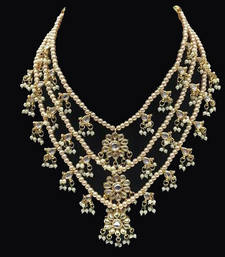Buy Kundan Flowers Teenlada Raani Haar Necklace Necklace online