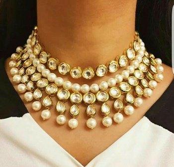Kundan and Pearls Layered Choker Necklace
