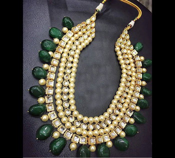 Kundan and Pearls Green Onyx Stones Necklace