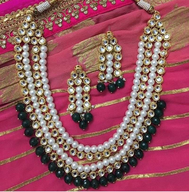 Buy Kundan And Pearls Rani Haar Necklace Set With Green