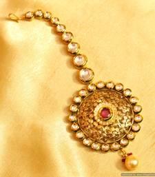 Buy Ruby Kundan meenakari Antique Bridal Maang Tikka maang-tikka online