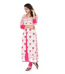 Buy White printed cotton long-kurtis long-kurti online