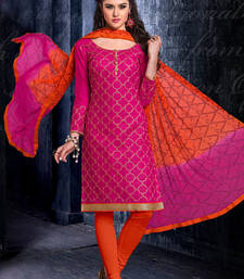 Buy pink embroidered chanderi semi stitched salwar with dupatta semi-stitched-salwar-suit online
