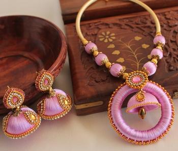 5ff0d4a83 Unique Designer Handmade Pink Silk Thread Jewell Set - DREAMJWELL - 1803554