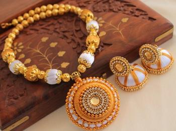 Unique Designer Handmade Gold White Silk Thread Jewell Set