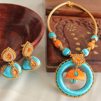 Unique Designer Handmade Blue Orange Silk Thread Jewell Set