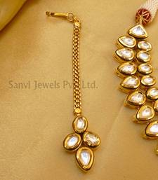 Buy Double line kundan meena necklace-set online