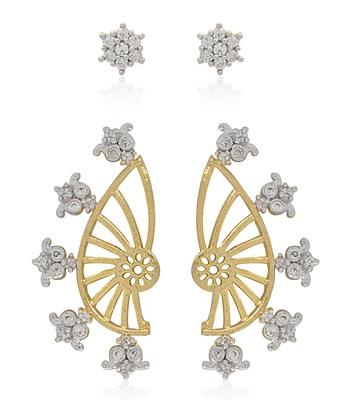 Multicolor diamond ear-cuffs
