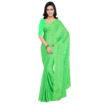Sea green woven crepe saree with blouse