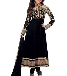 Buy Black embroidered georgette semi stitched indian party wear dress party-wear-salwar-kameez online