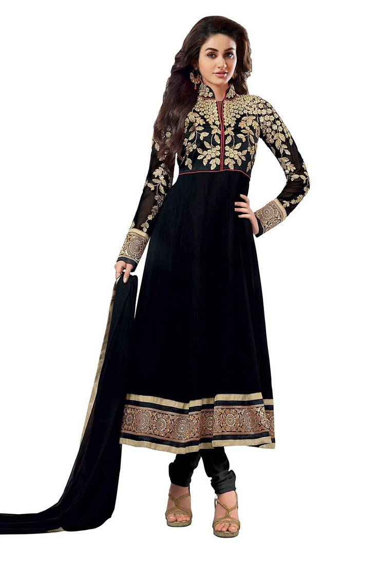 buy black embroidered georgette semi stitched indian party
