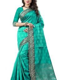 Buy Turquoise hand woven cotton silk saree with blouse kanchipuram-silk-saree online