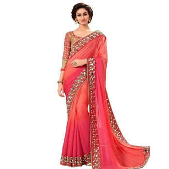 Red Real Mirror embroidered Work georgette saree with blouse