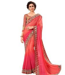 Buy Red Real Mirror embroidered Work georgette saree with blouse georgette-saree online