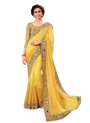Party Wear Yellow Real Mirror embroidered Work georgette saree with blouse