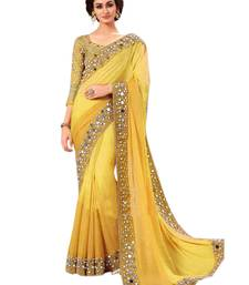 Buy Party Wear Yellow Real Mirror embroidered Work georgette saree with blouse georgette-saree online