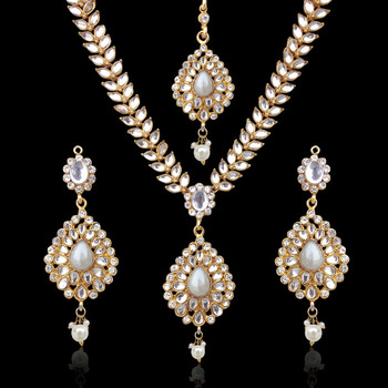 Sparkling Tear Drop with Kundan Leaves Pearl Indian Ethnic Necklace Set d7w