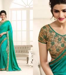 Buy Sea green embroidered art silk saree with blouse art-silk-saree online