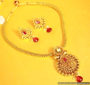 Ruby Gold Look Kundan Polki Necklace Set