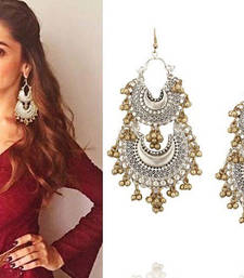 Deepika Silver and Gold Double Afghani Chandbaali