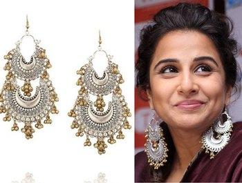Vidya Balan Silver and Gold Chandbaali