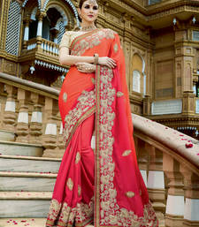 Buy Orange embroidered georgette saree with blouse party-wear-saree online