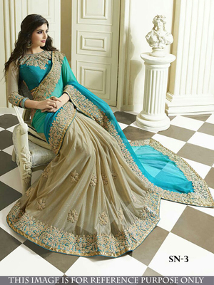 Light Sky Blue Embroidered Georgette Saree With Blouse
