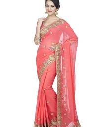 Buy Baby pink embroidered faux georgette saree with blouse women-ethnic-wear online
